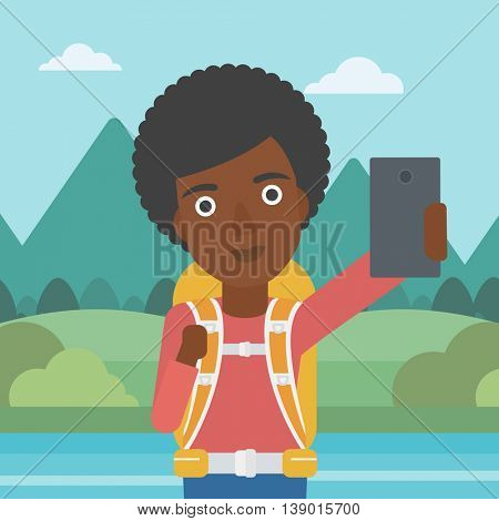 An african-american woman making selfie on the background of mountains. Travelling woman with backpack taking photo with cellphone. Vector flat design illustration. Square layout.
