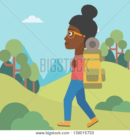 An african-american woman hiking in mountains. Female traveler with backpack mountaineering. Hiking woman with backpack walking outdoor. Vector flat design illustration. Square layout.