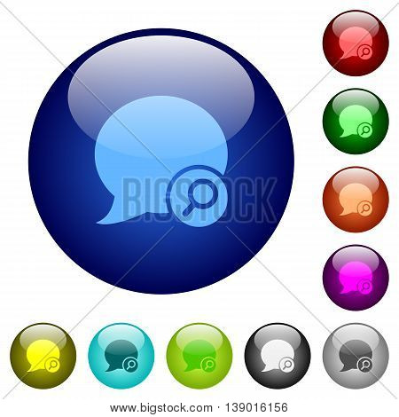 Set of color find blog comment glass web buttons.