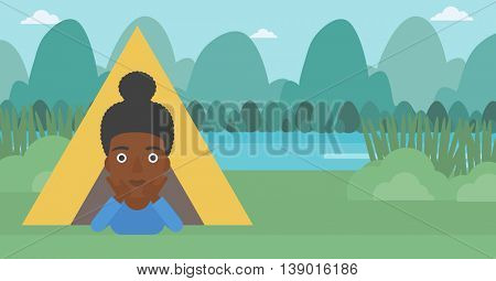 An african-american woman crawling out from a camping tent. Travelling woman with her hands on cheek lying in camping tent and relaxing. Vector flat design illustration. Horizontal layout.