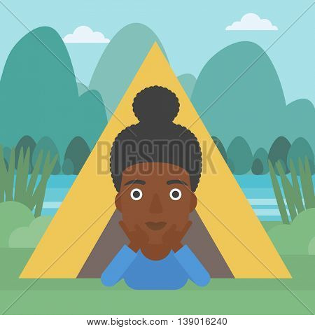 An african-american woman crawling out from a camping tent. Travelling woman with her hands on cheek lying in camping tent and relaxing. Vector flat design illustration. Square layout.