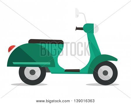Side view of modern classic scooter vector flat design illustration isolated on white background.