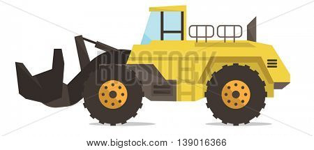 Large yellow dredge vector flat design illustration isolated on white background.