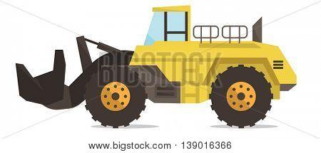 Large yellow dredge vector flat design illustration isolated on white background.