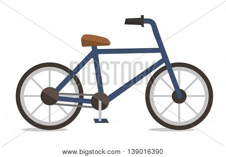 Side view of classic bicycle vector flat design illustration isolated on white background.
