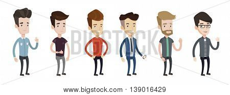 Set of illustrations of young man showing ok sign, giving thumbs up, showing peace sign, waving hand, using smartphone. Vector illustration isolated on white background.