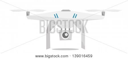 Flying helicopter with camera vector flat design illustration isolated on white background.
