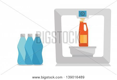 Tree D printer making a bottle vector flat design illustration isolated on white background.