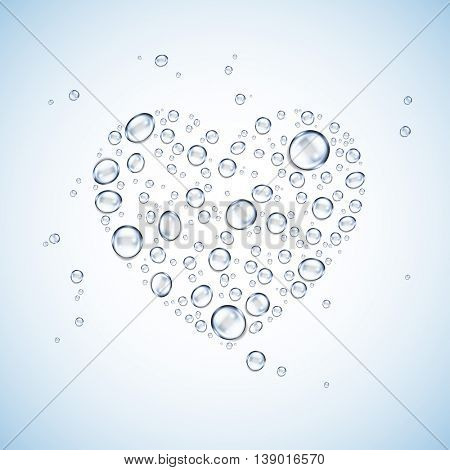 water drops heart shaped vector background