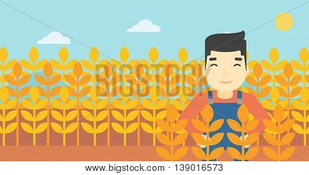 An asian farmer standing in a wheat field. Young farmer working in a weat field. Vector flat design illustration. Horizontal layout.