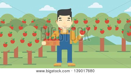 An asian farmer holding a box with apples in one hand and an apple in another on a background of garden with trees. Farmer collecting apples. Vector flat design illustration. Horizontal layout.