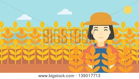 An asian female farmer standing in a wheat field. Young farmer working in a weat field. Vector flat design illustration. Horizontal layout.