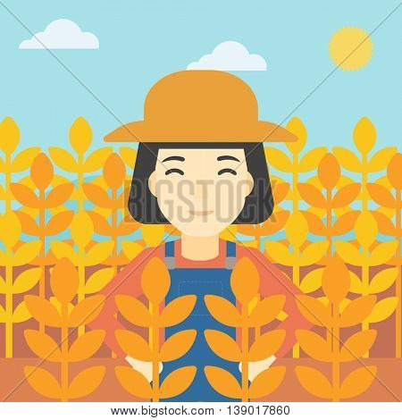 An asian female farmer standing in a wheat field. Young farmer working in a weat field. Vector flat design illustration. Square layout.
