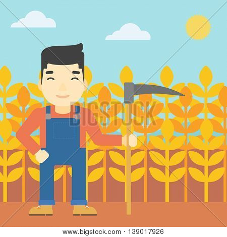 An asian farmer holding a scythe. Young farmer standing on the background of wheat field. Vector flat design illustration. Square layout.