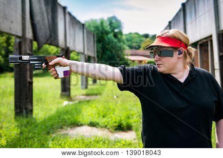 Woman On Sport Shooting Training Shooting Target