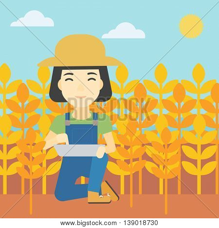 An asian female farmer checking plants on a wheat field. Farmer working on a digital tablet in a field. Vector flat design illustration. Square layout.