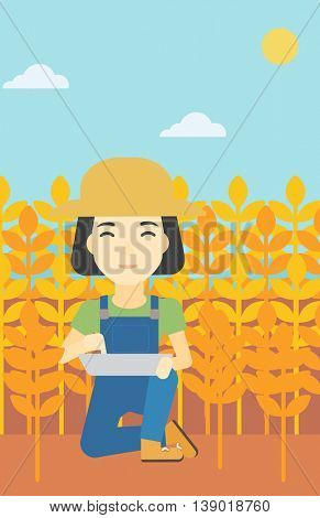 An asian female farmer checking plants on a wheat field. Farmer working on a digital tablet in a field. Vector flat design illustration. Vertical layout.