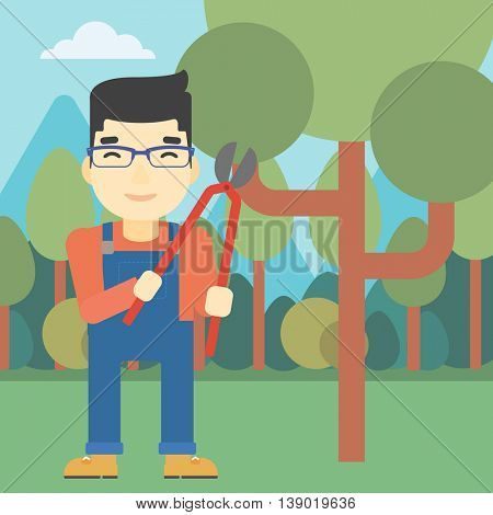 An asian farmer working with a pruner in the garden. Young man pruning branch. Gardener trimming branches in garden. Vector flat design illustration. Square layout.