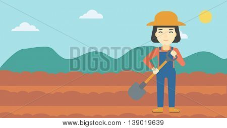 An asian female farmer with shovel on the background of plowed agricultural field. Friendly farmer with spade in field. Vector flat design illustration. Horizontal layout.