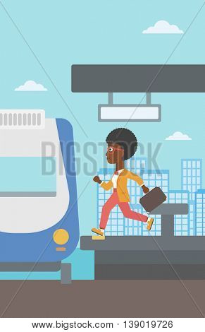 An african-american latecomer woman running along the platform to reach the train. Young woman with briefcase at the train station. Vector flat design illustration. Vertical layout.