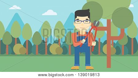 An asian farmer working with a pruner in the garden. Young man pruning branch. Gardener trimming branches in garden. Vector flat design illustration. Horizontal layout.