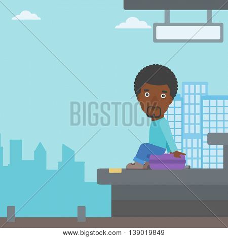 An african-american young man sitting on a suitcase at the train station. Young man waiting for a train at the railway platform. Vector flat design illustration. Square layout.