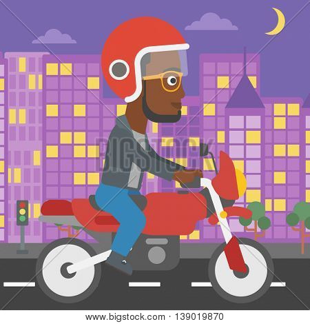 An african-american young man in helmet riding a motorcycle on the background of night city. Man driving a motorbike on a city road. Vector flat design illustration. Square layout.