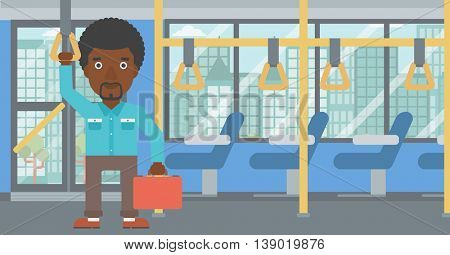 An african-american young man traveling by public transport. Man traveling by passenger bus or subway. Vector flat design illustration. Horizontal  layout.