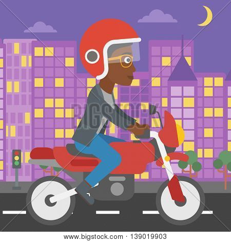 An african-american young woman in helmet riding a motorcycle on the background of night city. Woman driving a motorbike on a city road. Vector flat design illustration. Square layout.