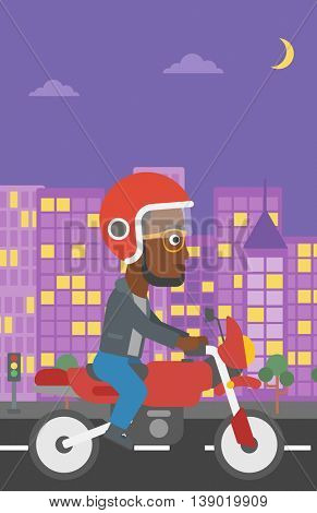 An african-american young man in helmet riding a motorcycle on the background of night city. Man driving a motorbike on a city road. Vector flat design illustration. Vertical layout.