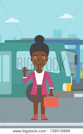 An african-american young woman with suitcase standing at the entrance door of a bus on a city background. Young woman waving in front of a bus. Vector flat design illustration. Vertical layout.