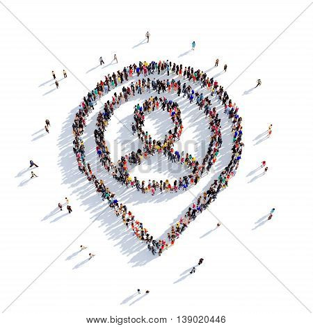 Large and creative group of people gathered together in the shape of MAP Pointer man. 3D illustration, isolated against a white background. 3D-rendering.