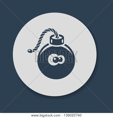 Flat bomb icon with fuse and frightened eyes vector illustration