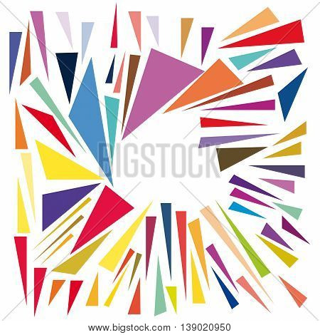 Abstract multicolor triangles on a white background