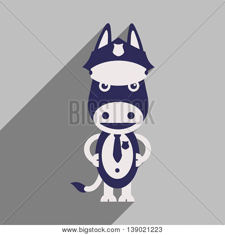 flat icon with long shadow cartoon donkey