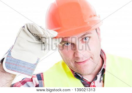 Closeup Of Male Constructor Doing Salutation Gesture