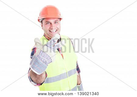 Joyful Male Builder Showing Number Three