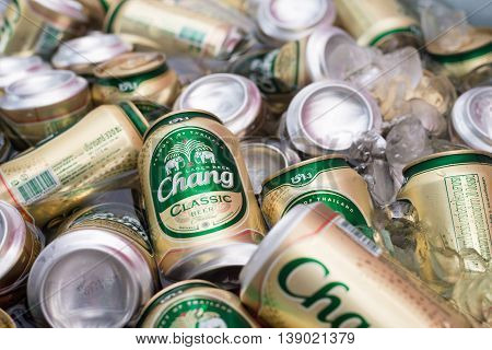 Pattaya THAILAND -June 18 2016: Beer chang Cans in ice cold are the most famous beer and a beer drinking most favorite tourist destinations in Thailand.