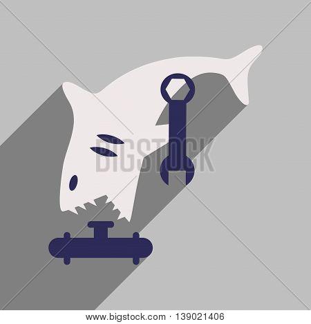 flat icon with long shadow shark cartoon