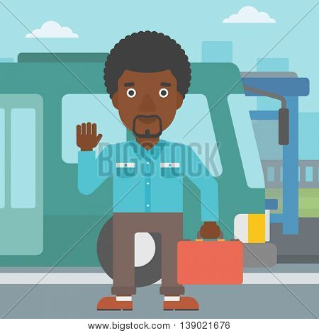 An african-american young man standing at the entrance door of a bus on a city background. Young man waving in front of a bus. Vector flat design illustration. Square layout.