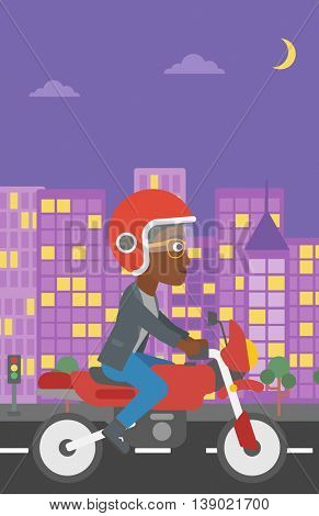 An african-american young woman in helmet riding a motorcycle on the background of night city. Woman driving a motorbike on a city road. Vector flat design illustration. Vertical layout.