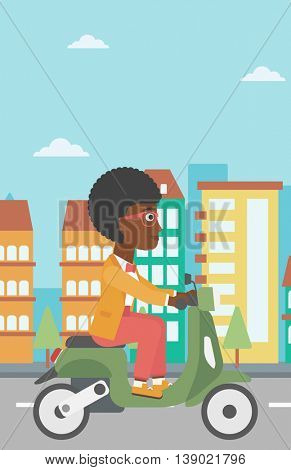 An african-american young woman riding a scooter on a city background. Young woman driving a scooter in the street. Vector flat design illustration. Vertical layout.