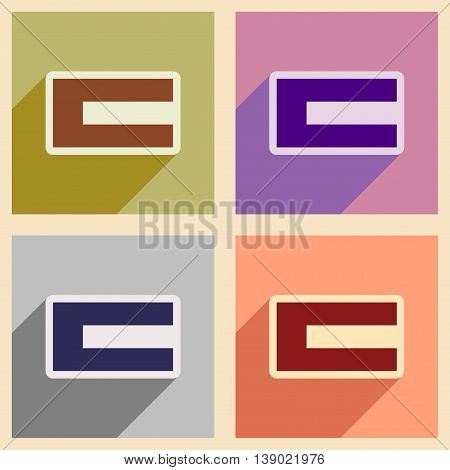 Concept flat icons with long shadow Flag Arab Emirates