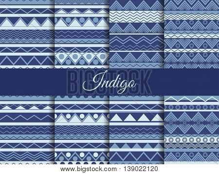 Set Seamless Ethnic Pattern, Tribal Texture, Hippie Style. The Color Indigo, The Summer Trend. Vecto
