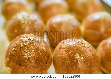 Close-up photography of just baked homemade buns