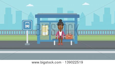 An african-american woman with briefcase waiting for a bus at a bus stop on a city background. Young woman sitting at bus stop at the city street. Vector flat design illustration. Horizontal  layout.