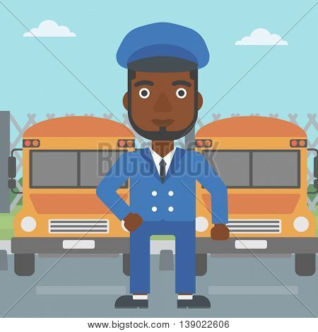 An african-american school bus driver standing in front of yellow bus. Vector flat design illustration. Square layout.