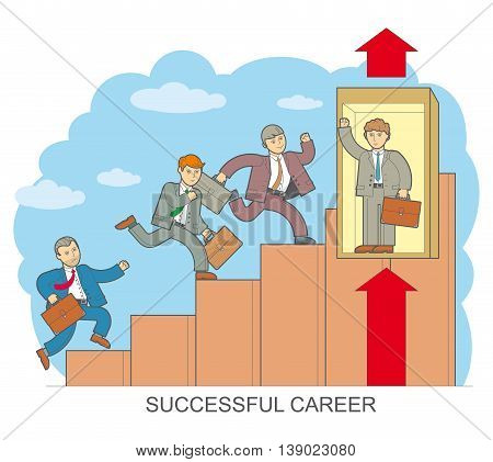 Vector illustration of style design flat line on a successful career businessman climbing the corporate ladder