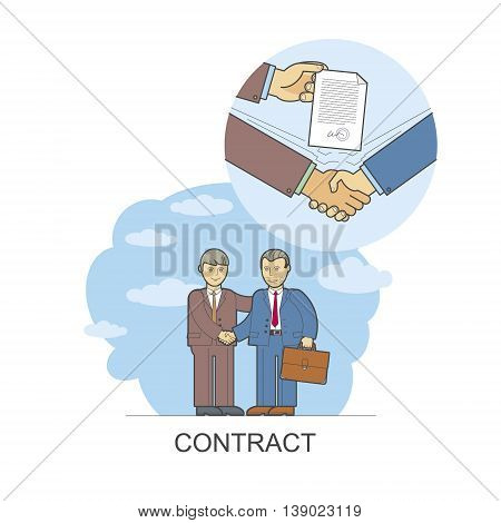 Vector illustration of style flat linear design: a handshake business deal, the deal between the partners