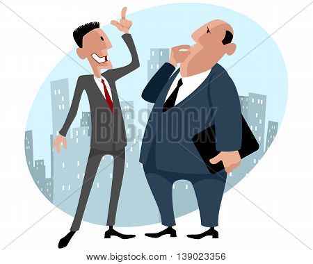 Vector illustration of a two businessmen talking
